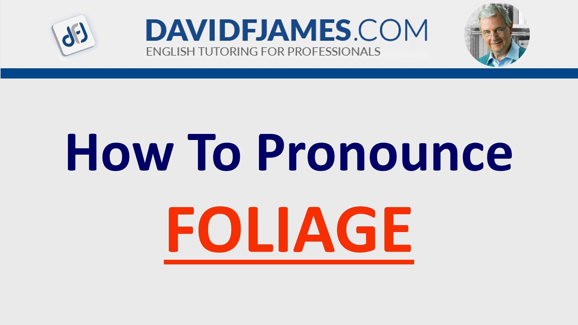 how to pronounce foliage